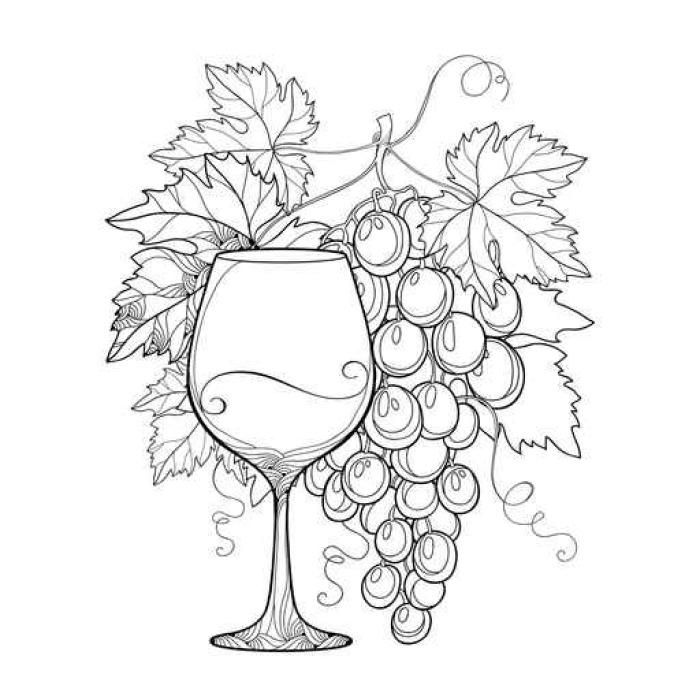 Vinilo Pixerstick Montón de vectores de uva, hojas de parra ...