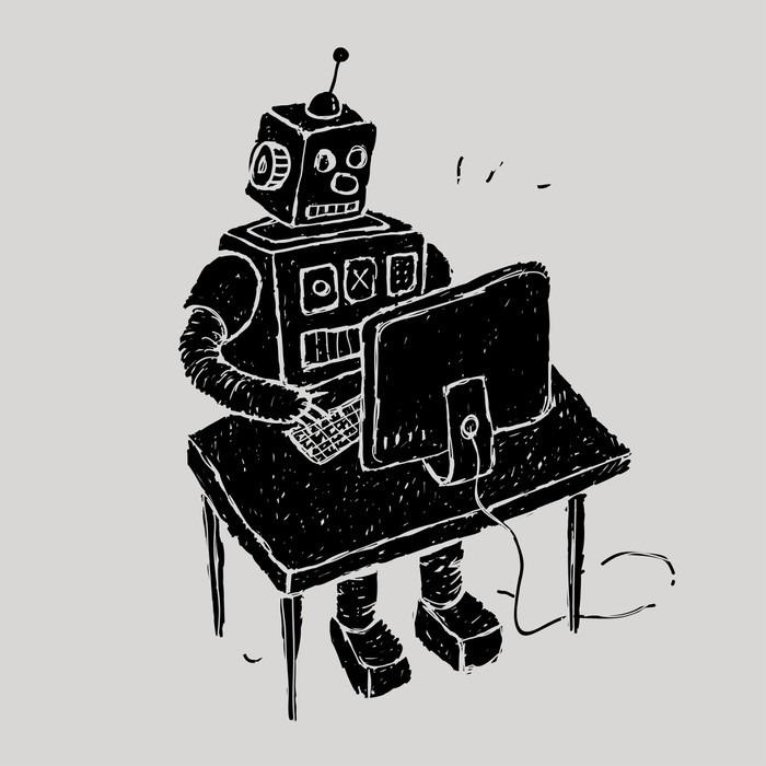 Papier peint le robot utilise un ordinateur pixers for Papier peint pour ordinateur