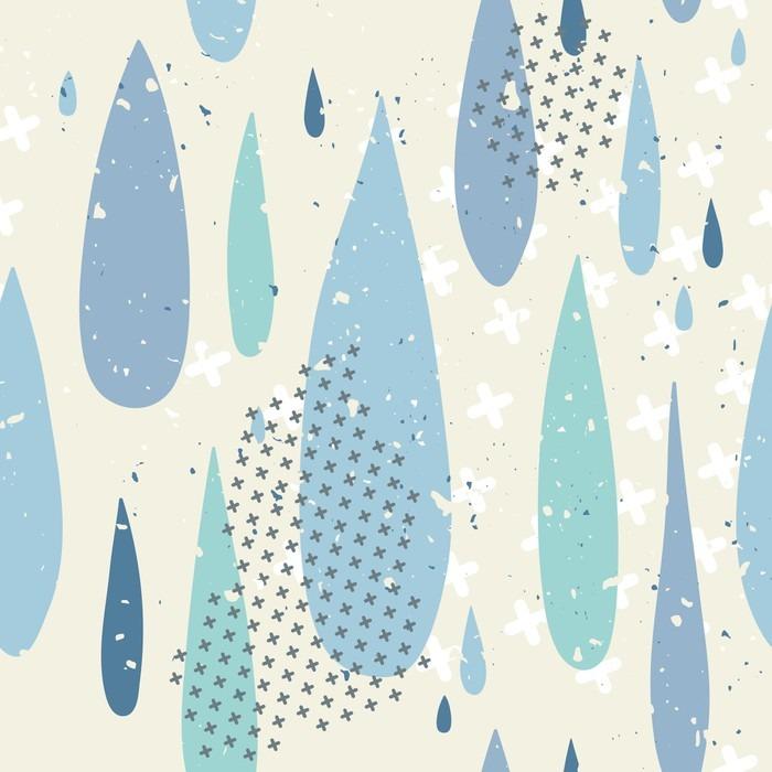 Nálepka Pixerstick Dešťové kapky bezešvé vzor - Krajiny