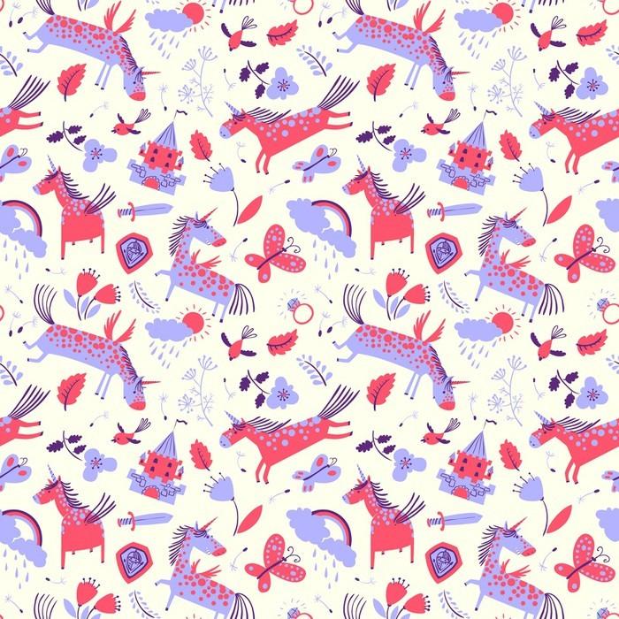 papier peint vector cute seamless floral avec des licornes. Black Bedroom Furniture Sets. Home Design Ideas