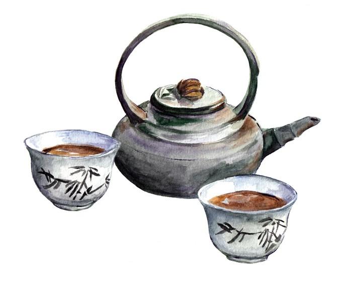 Nálepka Pixerstick Tradiční porcelán čajový set. Akvarel - Pití