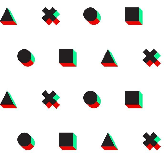 Adesivo per Tavolino Lack Triangolo croce cerchio quadrato stereo 3d modello web digitale - Risorse Grafiche