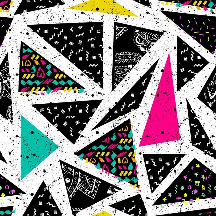 Streszczenie bezszwowe chaotyczny wzór z miejskich geometryczne elementy trójkąta. Grunge neon tekstury tła. Tapety dla chłopców i dziewczynek
