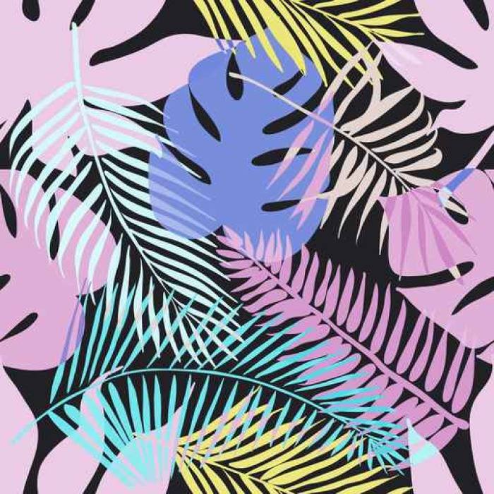 Carta da parati fiori esotici tropicali e piante con for Carta da parati vinile