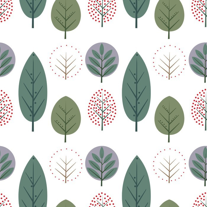 papier peint d coratif feuilles seamless pattern mignon fond de la nature avec des arbres. Black Bedroom Furniture Sets. Home Design Ideas