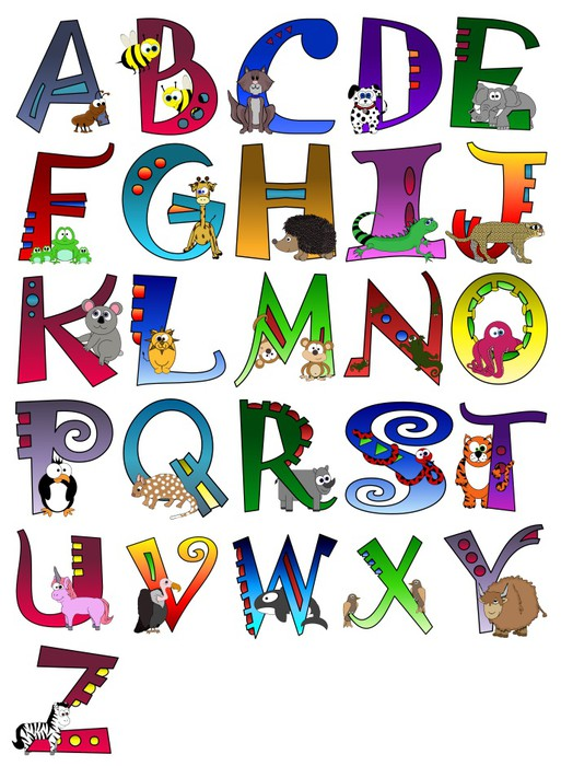 Animal Themed Alphabet Poster A Z Poster Sticker