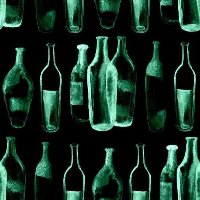 Vinylová Tapeta Akvarel bezproblémové pozadí. Zelené víno lahví a sklenic. - Pití