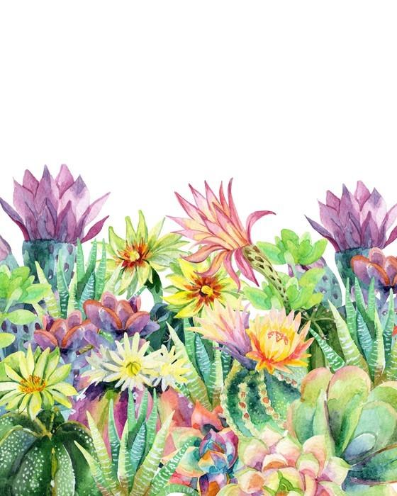 Akwarela tle kwitnących kaktusów