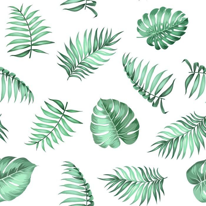 Ajankohtaiset palmunlehdet saumattomalla kuvioinnilla kudoksen rakenteelle. vektori kuva. Vinyyli valokuvatapetti -