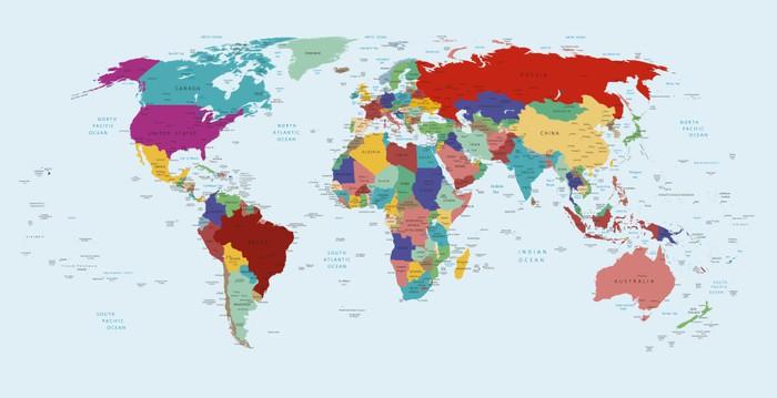 karta över världen Fototapet Politisk karta över världen • Pixers®   Vi lever för  karta över världen