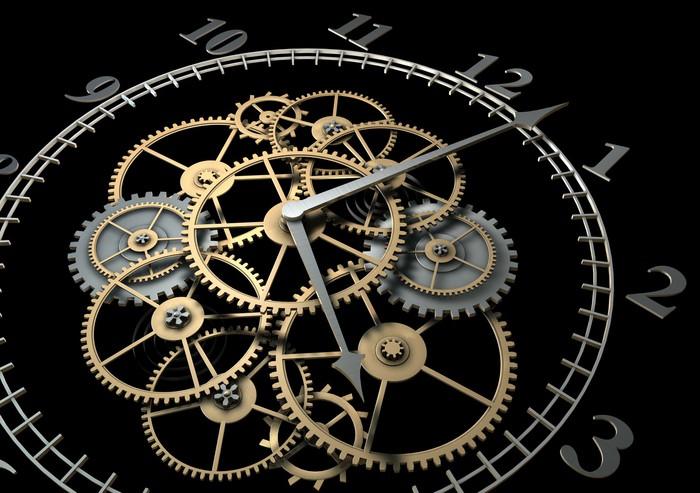 Vinilo pixerstick reloj 3d con engranajes en el fondo - Relojes grandes de pared vintage ...