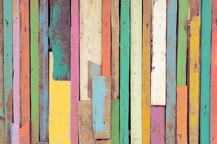 Vinilo pixerstick la obra de arte colorido pintado en - Papel pintado para madera ...