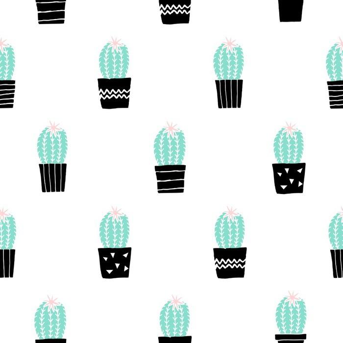 Carta da Parati in Vinile Hand Drawn Cactus pattern - Piante & Fiori