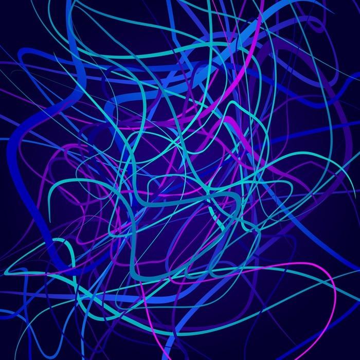 Nálepka Pixerstick Neonové tvary, abstraktní kompozice, světlé pozadí, změť barevných tvarů, vektorové design umění - Grafika