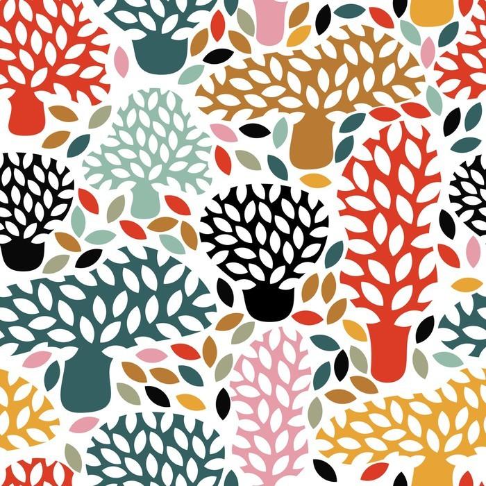 Carta da Parati in Vinile Vector multicolore seamless con disegnata a mano alberi Doodle. Astratto autunno sfondo della natura. Design per il tessuto, stampe caduta tessile, carta da imballaggio. - Piante & Fiori
