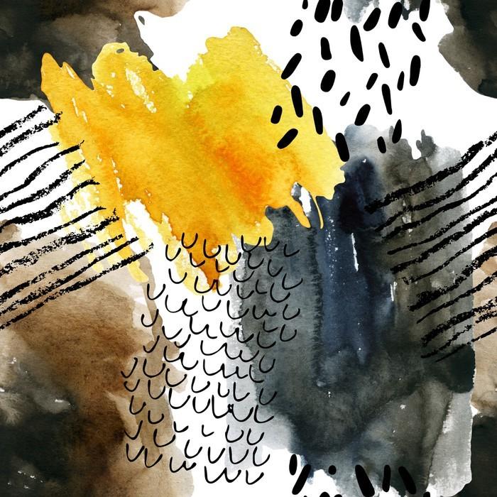 Dolap Çıkartması Sonbahar renkleri soyut suluboya seamless pattern. - Endüstriyel