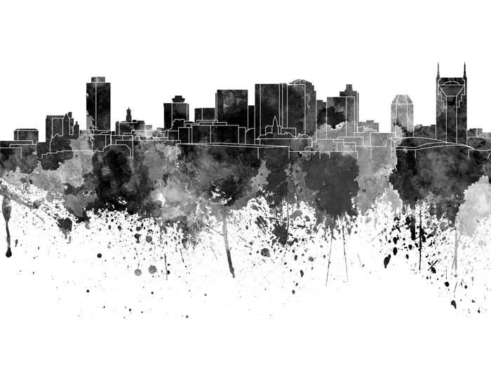 Nashville Skyline w czarnej akwarela na białym tle