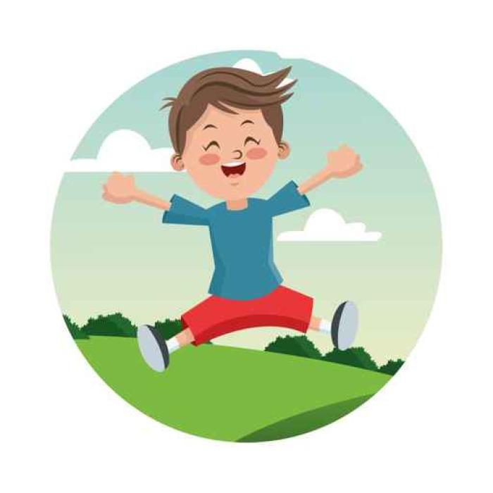 Vinylová fototapeta Kreslený a šťastný chlapec dítě. Dětství student a happyness téma. Barevný a kružnice výprava. vektorové ilustrace - Vinylová fototapeta