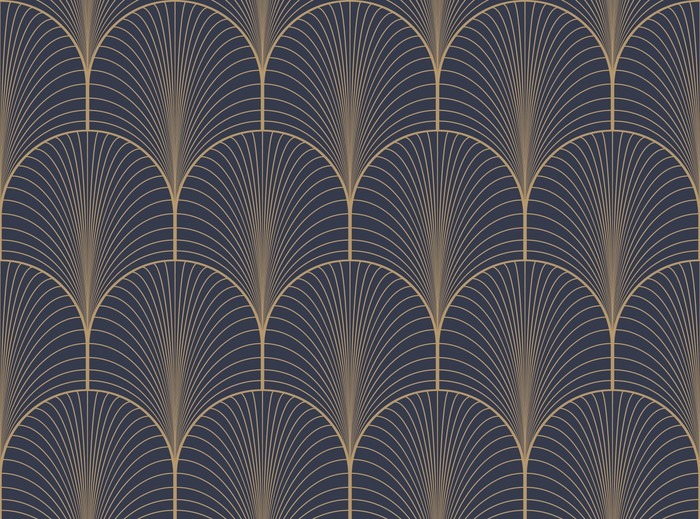 Vintage Tan Blue And Brown Seamless Art Deco Wallpaper