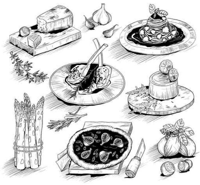 Vinylová Tapeta Ručně kreslenými ilustrace s italskou kuchyni - Jídlo