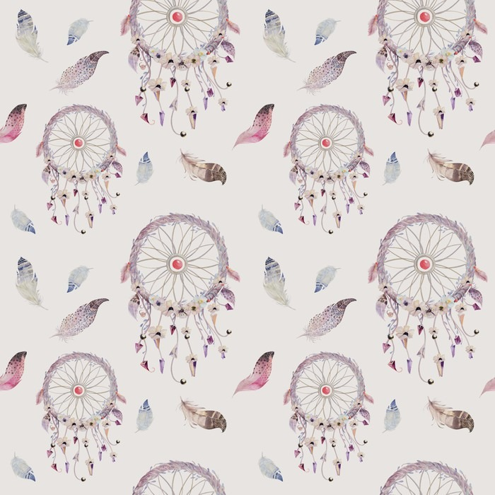 Dreamcatcher And Feather Pattern Watercolor Bohemian Decoration Vinyl Wall Mural