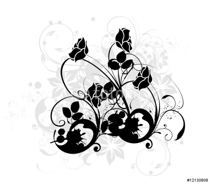 Vinylová Tapeta Arabesque de Noirs růže - Nálepka na stěny