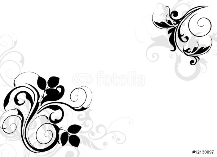 Vinylová Tapeta Černá a šedá květinový koutek - Nálepka na stěny
