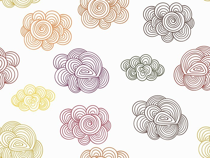 Vector seamless pattern with autumn doodle clouds wall for Mural vector