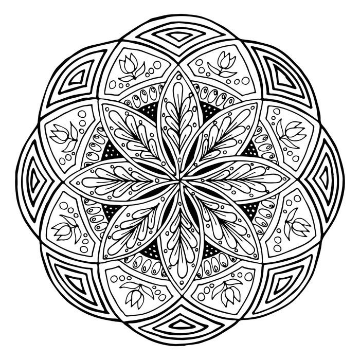 Vinilo Pixerstick Dibujo a mano de mandala, ronda adorno floral ...