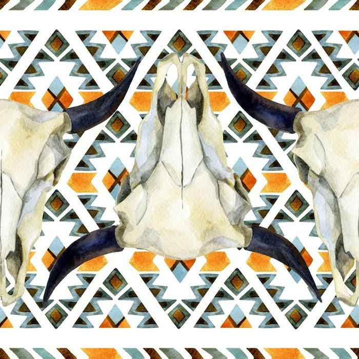 Papier peint lavable Géométrique seamless ethnique avec le crâne de vache - Animaux