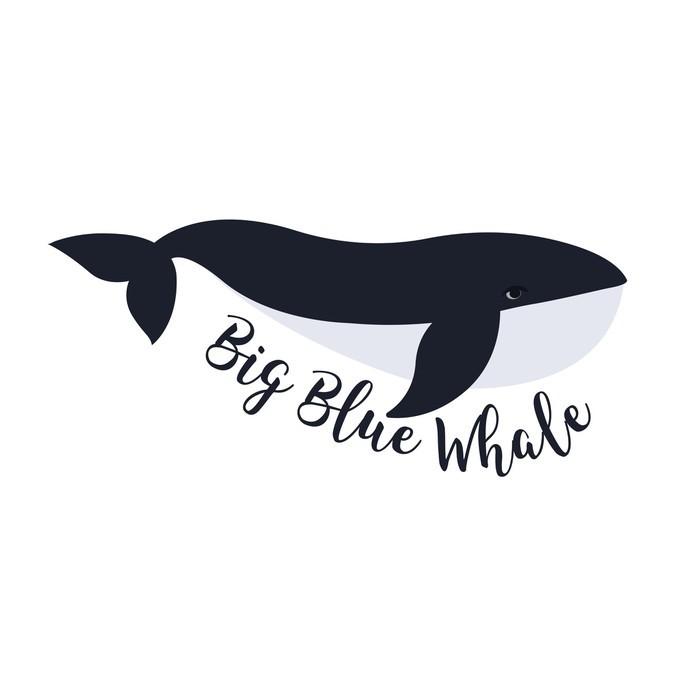 Carta da Parati in Vinile Illustrazione vettoriale di balena. simbolo di progettazione - Per cameretta