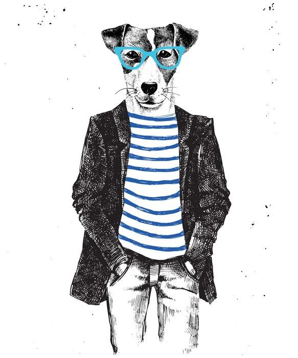 Käsin tehty pukeutunut koira hipsterin tyyliin Vaatekaappitarra - Eläimet