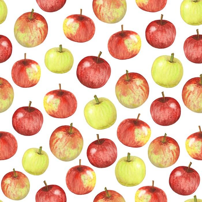Vinylová fototapeta Bezešvé akvarelové jablka - Vinylová fototapeta