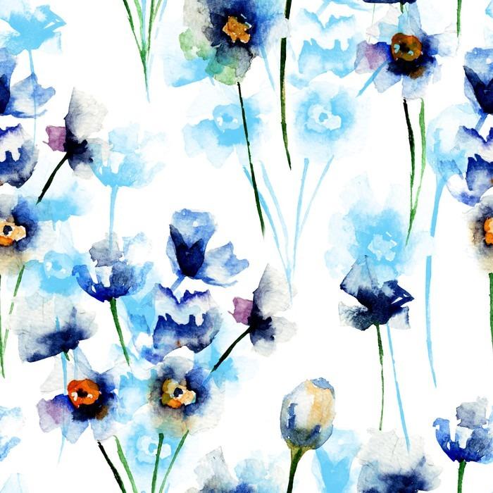 Vinylová Tapeta Bezešvé vzor s modrými divokých květin - Rostliny a květiny