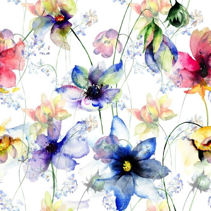 Carta da parati seamless pattern con fiori estivi for Parati decorativi