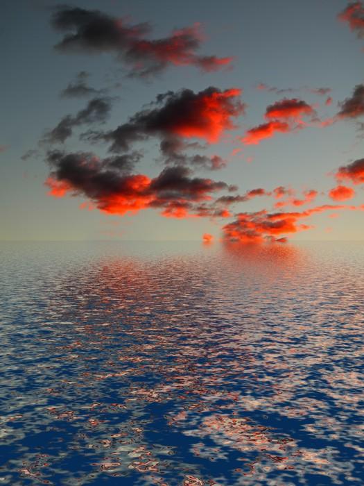 Vinylová fototapeta Ciel rouge sur mer sombre - Vinylová fototapeta