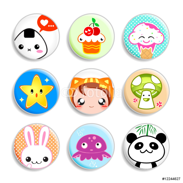 Set of badges with the kawaii (cute) japanese style characters