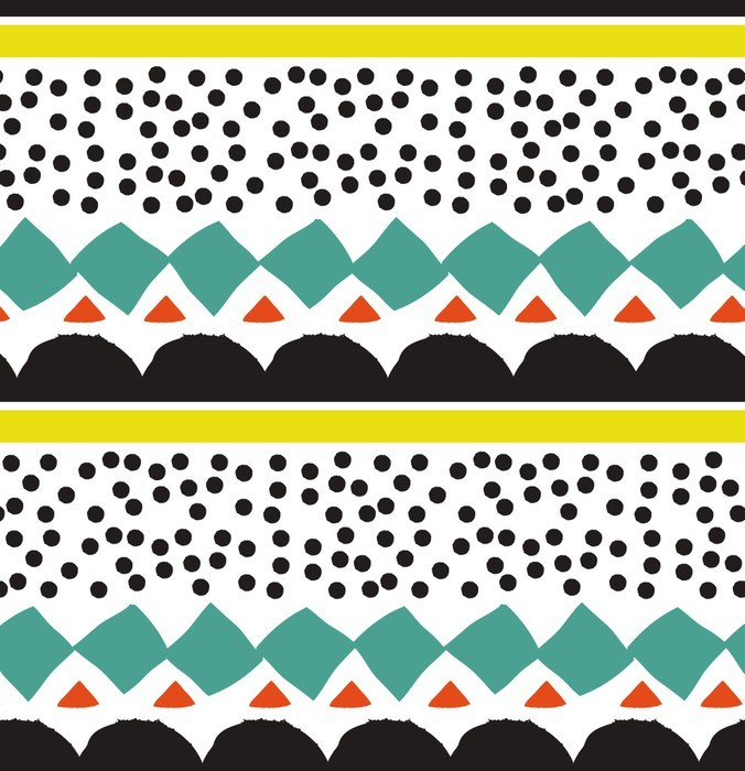 Seamless Pattern With Graphic Geometric Elements Wall