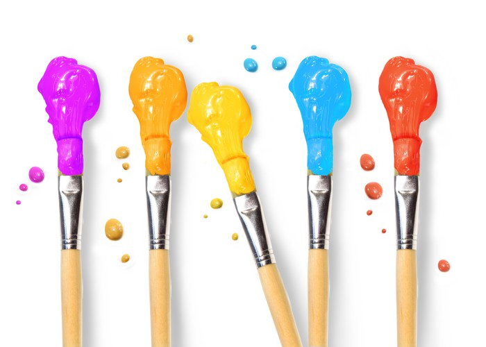 Bristle brushes full of different colored paints Wall Mural - Vinyl - Art and Creation