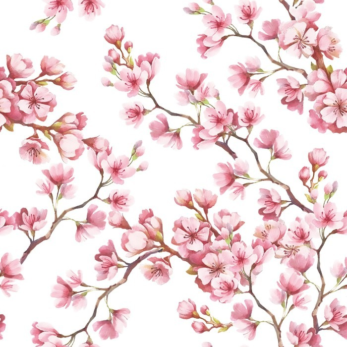 Seamless pattern with cherry blossoms watercolor for Cherry blossom mural