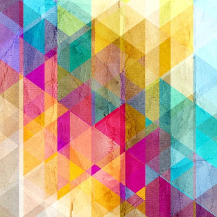 Vinil Duvar Resmi Üçgenler ile suluboya geometrik arka plan - Grafik kaynakları