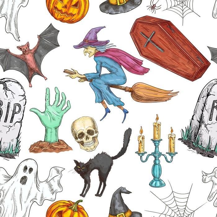 Vinilo Pixerstick Patrón sin costuras de halloween de símbolos de ...