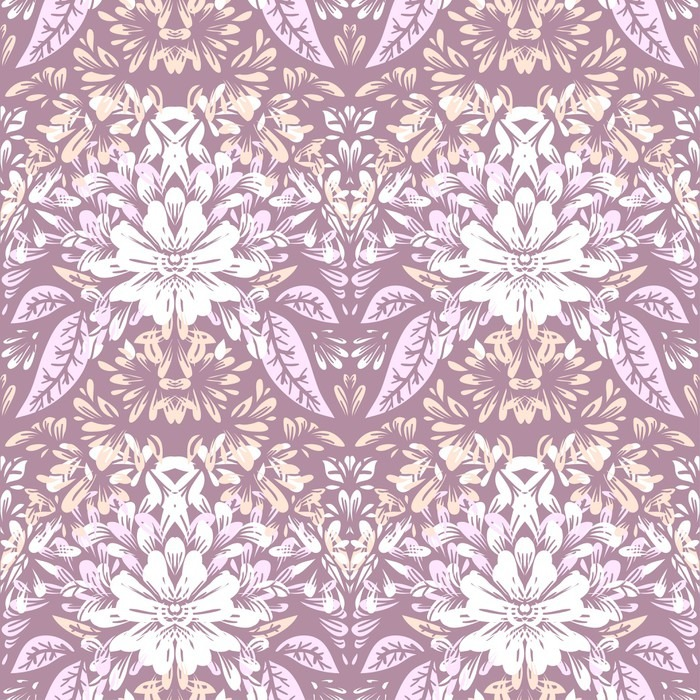 Seamless pattern with light elegant floral motifs. Vinyl Wallpaper - Graphic Resources