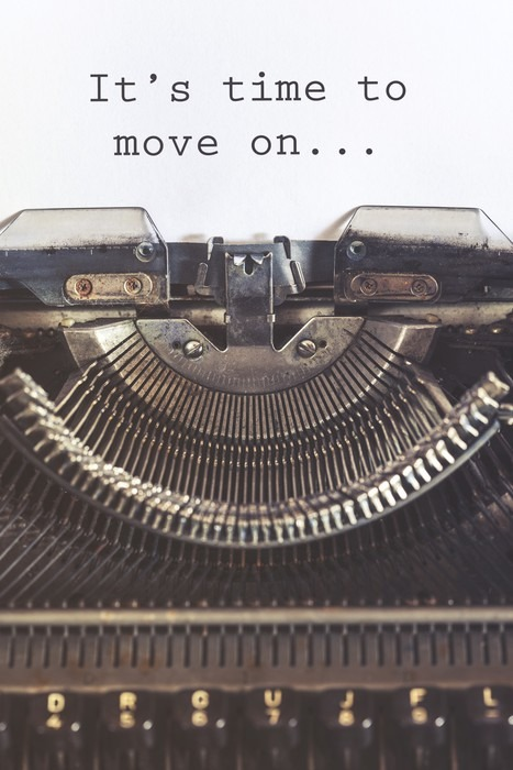 It's time to move on motivational message written with a vintage typewriter Canvas Print - States of Mind