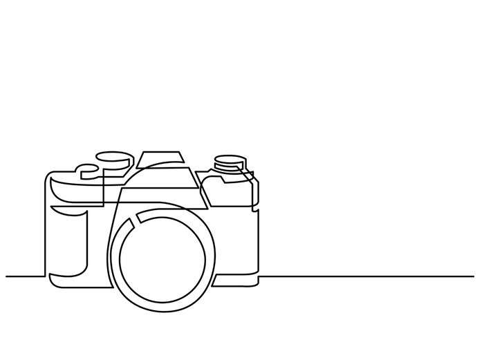 Line Art Camera : Continuous line drawing of retro photo camera wall mural