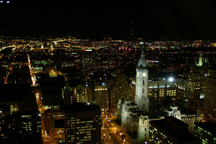 Philadelphia And City Hall At Night From Above Wall Mural
