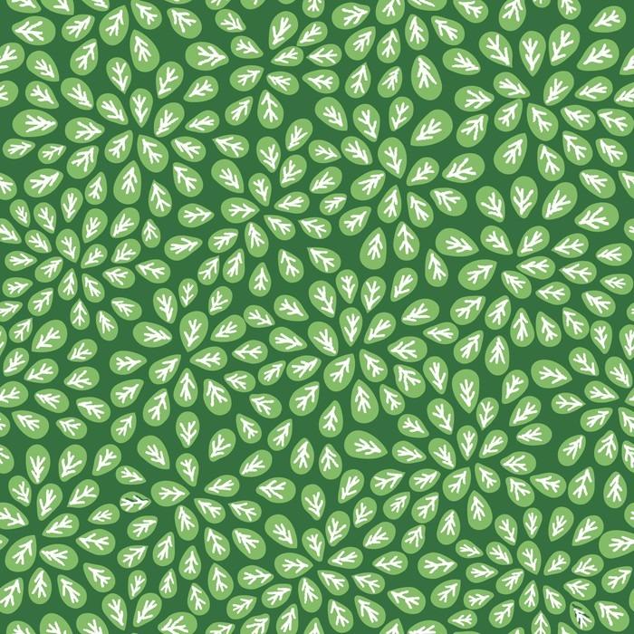 Fototapet av Vinyl Sömlösa abstrakt grönt lövmönster på grön bakgrund - Grafiska resurser