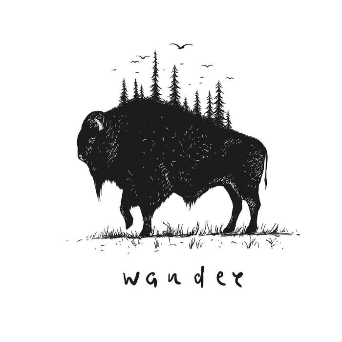 Wandtattoo Abstrakte Büffel mit Wald auf ihn • Pixers® - Wir leben ...