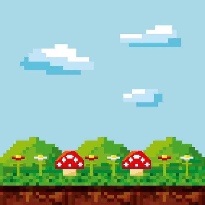 Fotomural pixelada videojuego iconos ilustraci n vectorial de dise o pixers vivimos para - Fotomurales pixel ...