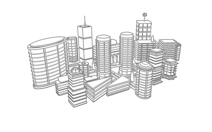 Fototapete Zeichnen Von 3D Stadt Schwarzen Und Weißen Architektur